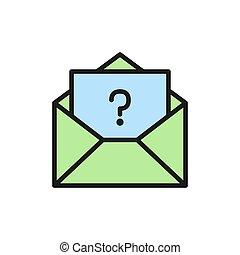 frequently, brief, faq, fragte, wohnung, frage, icon., zeichen, farbe, fragen