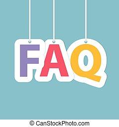 (frequently, faq, abbildung, questions), hängender , geschrieben, letters-, fragte, vektor