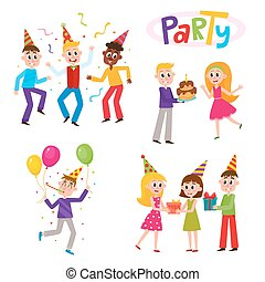 Freunde, die Spaß auf der Geburtstagsparty haben