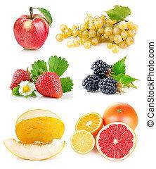 frisch, blätter, satz, grün, früchte