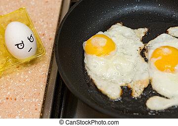frisch, eier, kochen