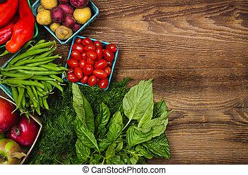 frische gemüse, markt, früchte