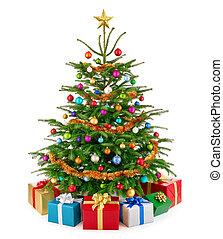 Frischer, üppiger Weihnachtsbaum mit bunten Geschenkdosen.
