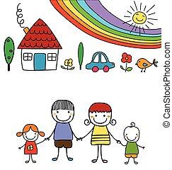 Frohe Familie und Regenbogen.