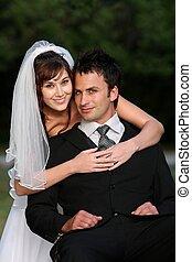 Frohes Hochzeitspaar