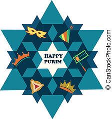 Frohes Purim. David Star mit jüdischen Feiertagen