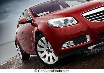front, kirschen, detail, rotes auto