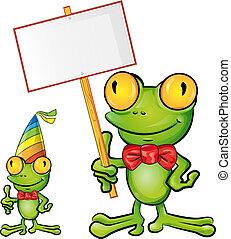 Frosch-Cartoon mit Schild.