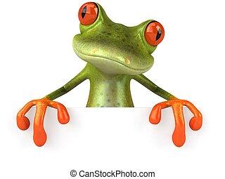 Fun Frog mit einem leeren Zeichen