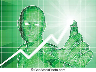 Futuristische Figuren verfolgen den Trend nach oben