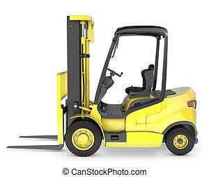 gabel, gelber , aufzug, lastwagen, seitenansicht