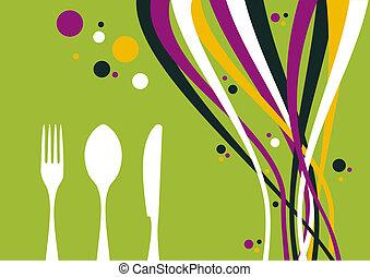 Gabel, Messer und Löffel mit mehrfarbigem Hintergrund