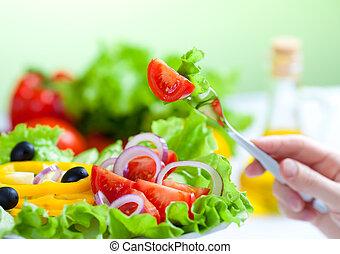 gabel, salat, gesundes essen, gemüse, frisch