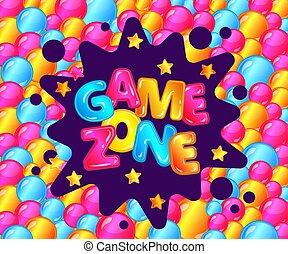Game Zone Fun Poster für Kinder Unterhaltungsbereich, Spielzimmeranzeige für Kinderspielplatz