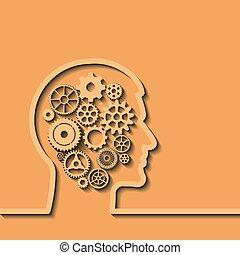 Gears in menschlichem Kopf, Denkprozess. Vector
