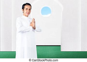 gebärde, asiatisch, stehende , gruß, moslem, mann