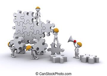gebäude, geschaeftswelt, entwickeln, concept., arbeit, puzzle., mannschaft