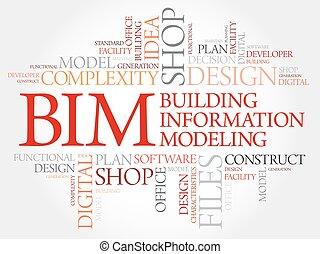 gebäude, informationen, bim, wort, -, modellieren, wolke