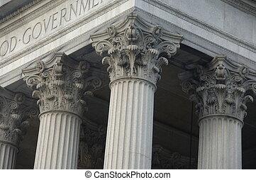 gebäude, korinthische spalten, regierung