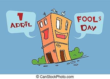gebäude, lustiges, haus, zeichen, gruß, karikatur, april, eierarsch, feiertag, tag, karte