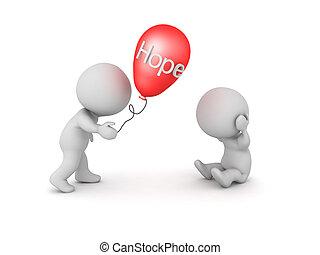 geben, ihm, balloon, zeichen, noch ein, hoffnung, wort, 3d