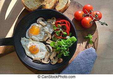 gebraten, braten, eier, pfanne