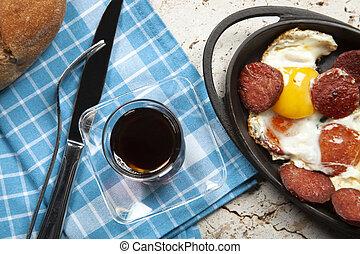 gebraten, sausage, pfanne, eier