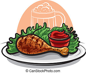 Gebratenes Hühnerbein