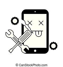 Gebrochene Handy-Fehler-Unterstützung Werkzeuge.