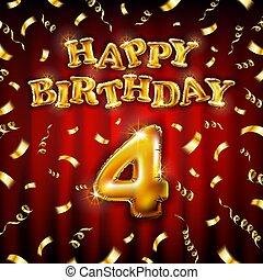 geburstag, balloon, vektor, rotes , abbildung, freigestellt, party, luftballone, gemacht, vier, nachricht, goldenes, begriff, hintergrund., 4, aufblasbar, glücklich, briefe