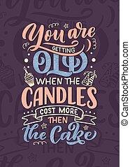 Geburtstagsbriefe im Retrostil. Jahrestags Einladungskarte. Vintage Einladung Vorlage für Feier Design. Komisches Zitat