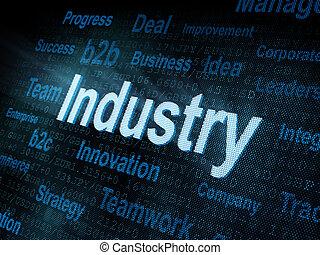 Gedämpfte Wortindustrie auf digitalem Bildschirm