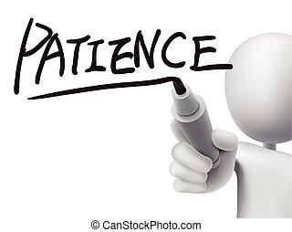 geduld, mann, 3d, wort, geschrieben