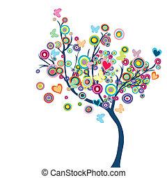 Gefärbter, glücklicher Baum mit Blumen und Schmetterlingen