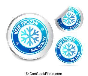 gefrorenes, behalten, etikett