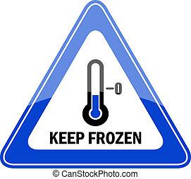gefrorenes, behalten, vektor, zeichen