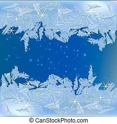 gefrorenes, fenster, frost
