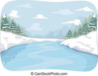 gefrorenes, fluß