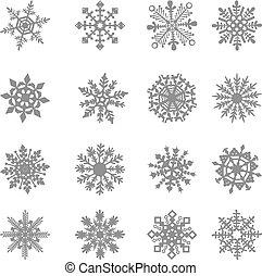 gefrorenes, kristall, grafik, stern, symbol, vektor, weißes, schneeflocke