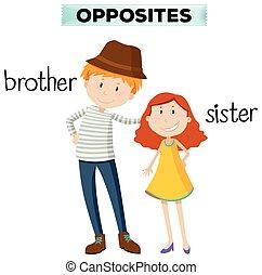 Gegen Worte für Bruder und Schwester.