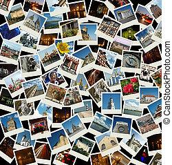 Geh nach Europa - Hintergrund mit Reisefotos von europeanischen Wahrzeichen