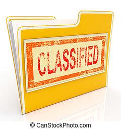 Geheime Datei zeigt vertrauliche Dokumente oder Papiere