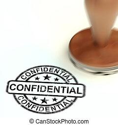 geheimnis, vertraulich, -, 3d, begriff, abbildung, dokumente, bescheinigen, briefmarke, oberseite