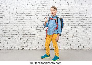 gehen, junge, schule, seine, rucksack