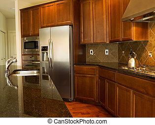 Gehen Sie in die moderne Küche.