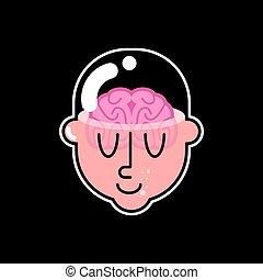 Gehirn in glasklarem Kopf. Vector Illustration