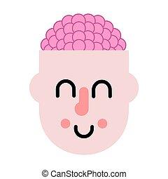 Gehirn in Kopf. Denkprozess. Vector Illustration