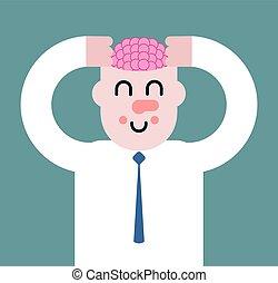 Gehirnmassage. Gehirn in Kopf. Denkprozess. Vector Illustration