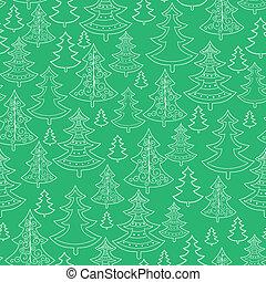 gekritzel, seamless, bäume, hintergrundmuster, weihnachten