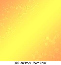 Gelb-orange Hintergrund mit Bokeh und Sternen für Design.